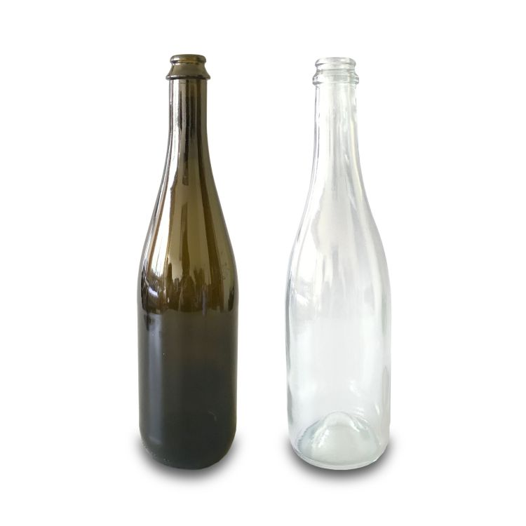 750ml green & flint champagne glass bottle